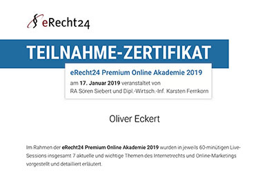 Zertifikat eRecht24 - Internetrecht und Onlinemarketing Preview