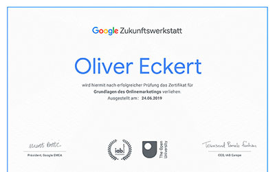 Zertifikat Google - Grundlagen Onlinemarketing Preview